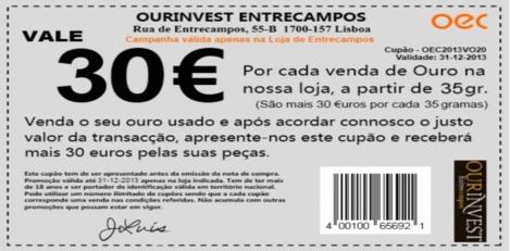 Cupão - Vale 30 Euros